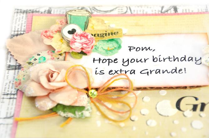 scrap escape  happy birthday pom  prima marketing
