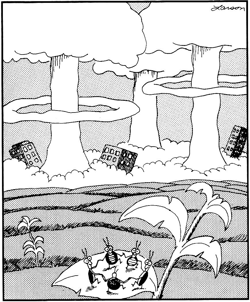 Far Side - Gary Larson: dancing cockroaches.
