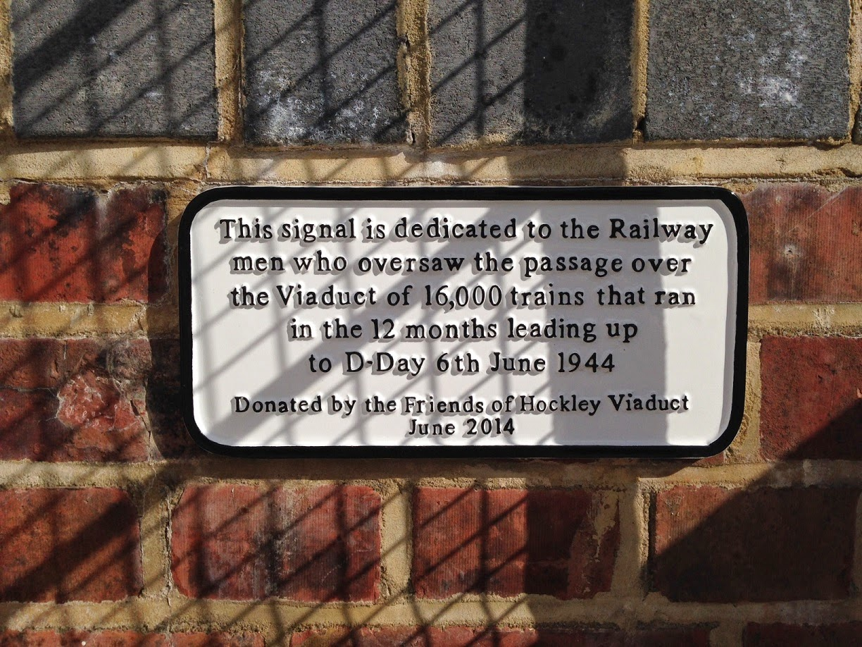 D-Day memorial plaque on the Hockley Railway Viaduct, near Winchester, Hampshire