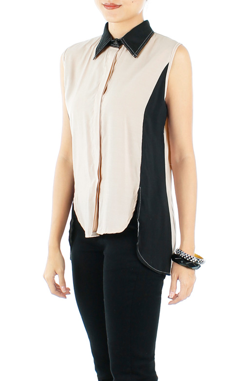 Latte Tuxedo-inspired Dip Back Shirt