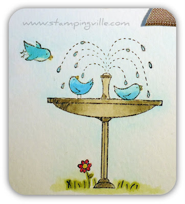 Birds in Birdbath Rubber Stamp Image