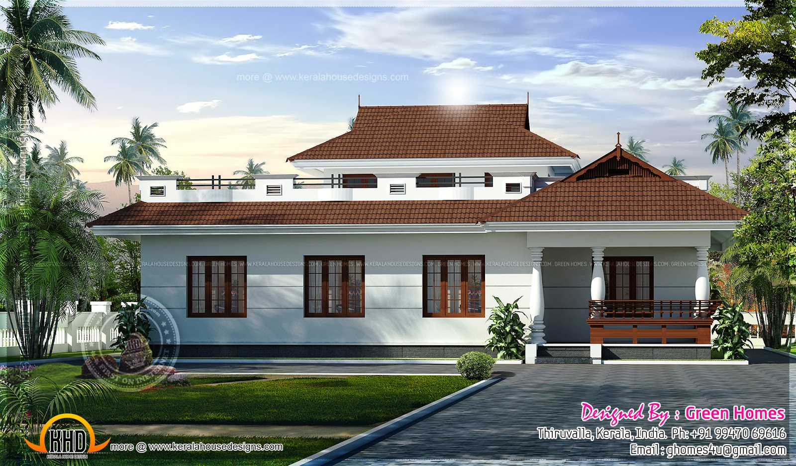 Awesome Single Storied Home Kerala Design And Floor