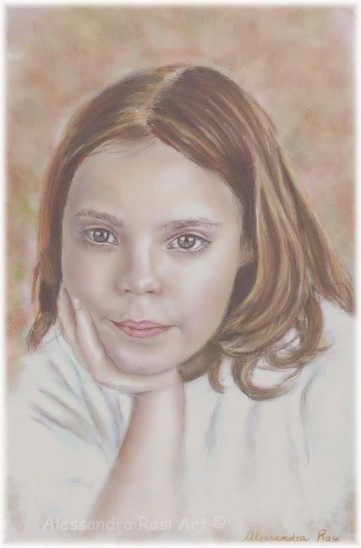 girl's painted portrait, commission family portrait, portrait from photo