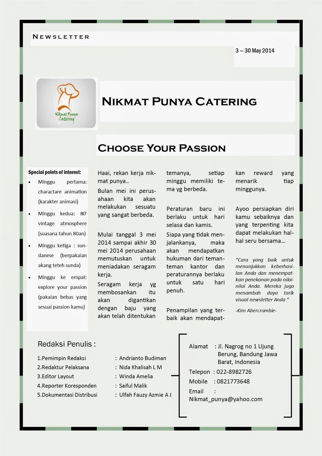 nikmat punya catering edisi newsletter cv nikmat punya catering