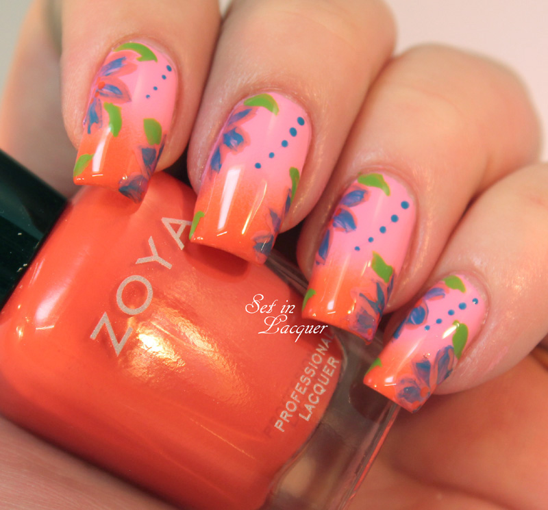 Floral nail art using the Zoya Tickled Collection