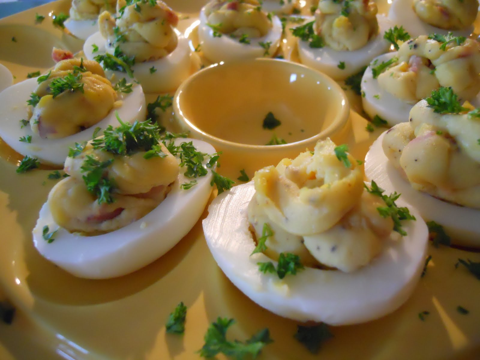See Aimee Cook: Bacon-Balsamic Deviled Eggs
