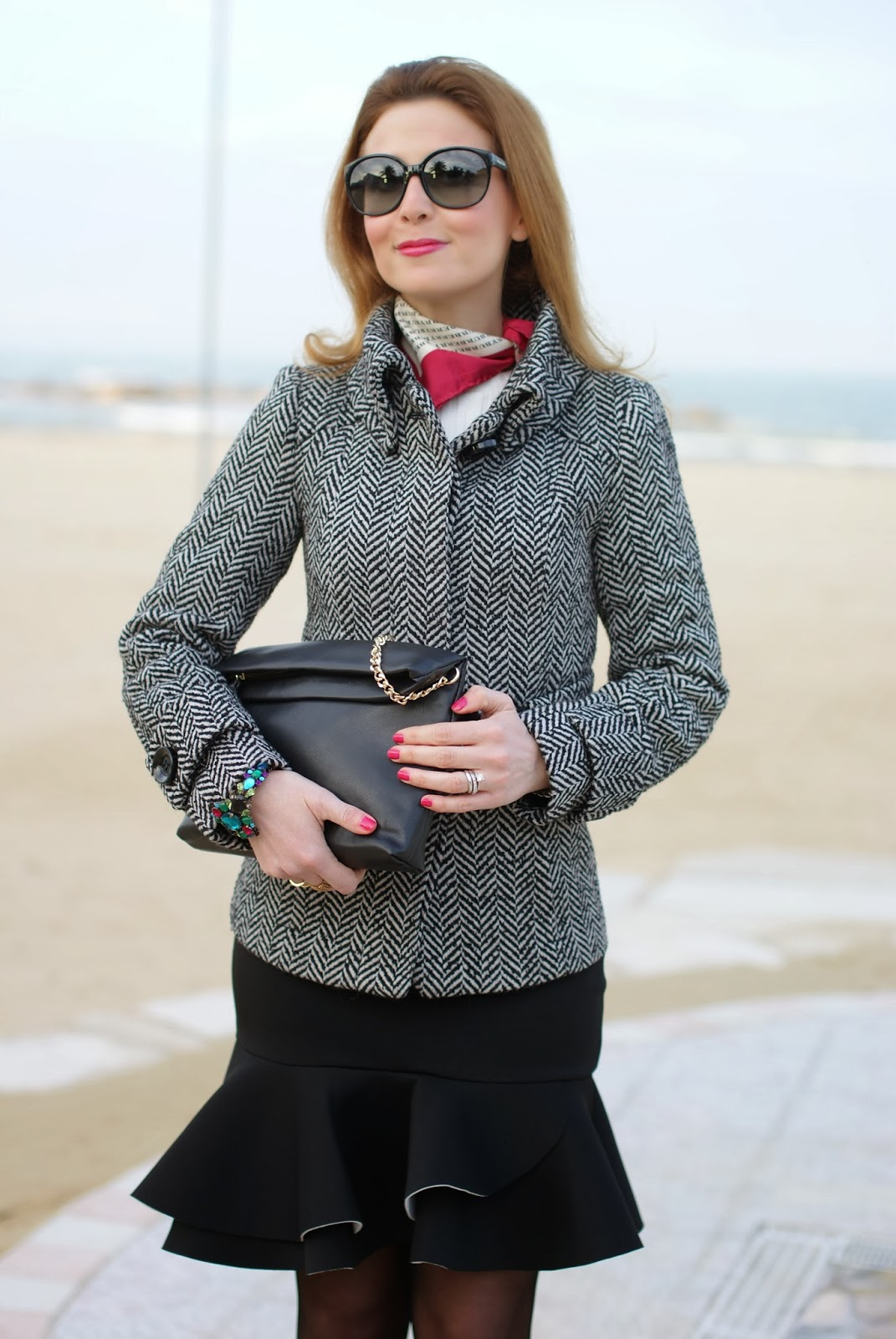 peplum hem skirt, Zara twill jacket, Burberry silk scarf, Zara clutch, Fashion and Cookies, fashion blogger