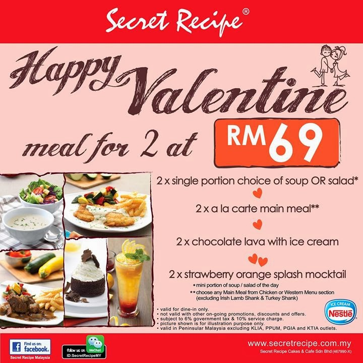 Happy Valentine Day With Secret Recipe Malaysian Foodie