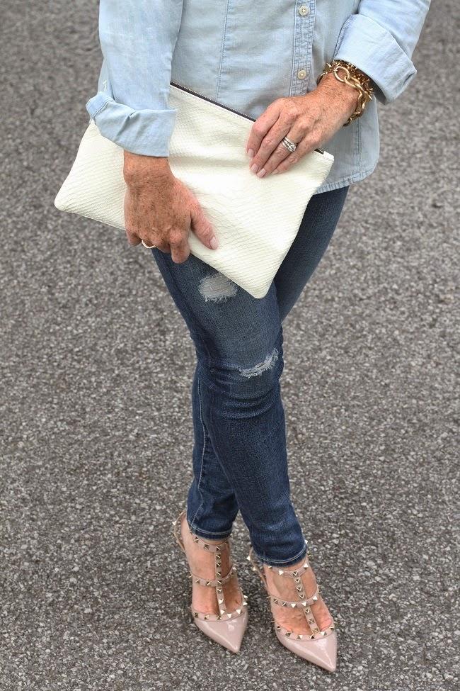 loren hope gold link bracelet, clare v white clutch, AG jeans, Valentino rock stud heels