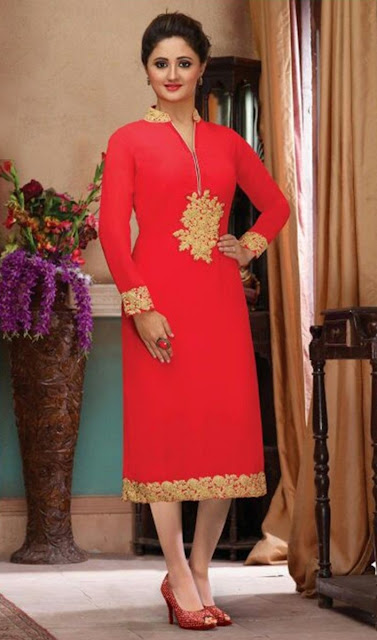 Red Chanderi Embroidered Desinger Kurti for Wedding Wear