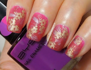 BYS Magenta stamped with Sally Hansen Pink Satin & China Glaze Passion