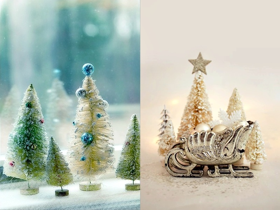 Pop culture and fashion magic original christmas trees ideas for Bottle brush christmas tree decorations