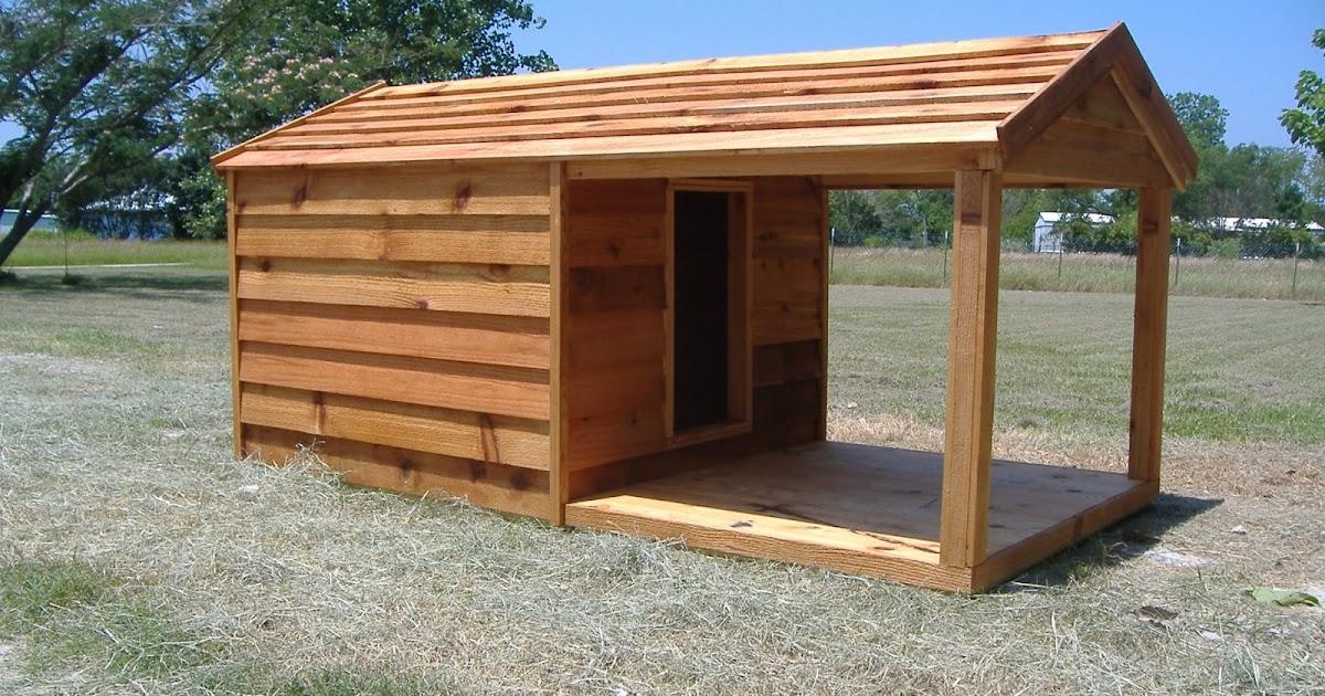 Custom large insulated wooden cedar dog houses ac