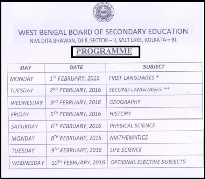 West Bengal Secondary Examination 2016 Programme Chart