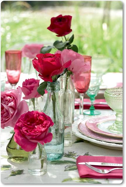dukning med rosor