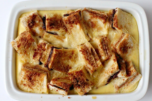 Milk and Honey: PB & N (for Nutella) Bread and Butter Pudding