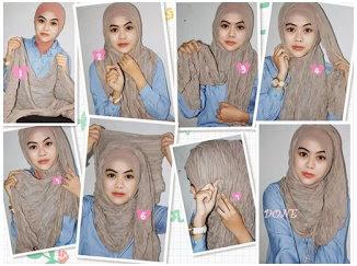 Foto Tutorial Cara Pakai Hijab Modern Syar'i