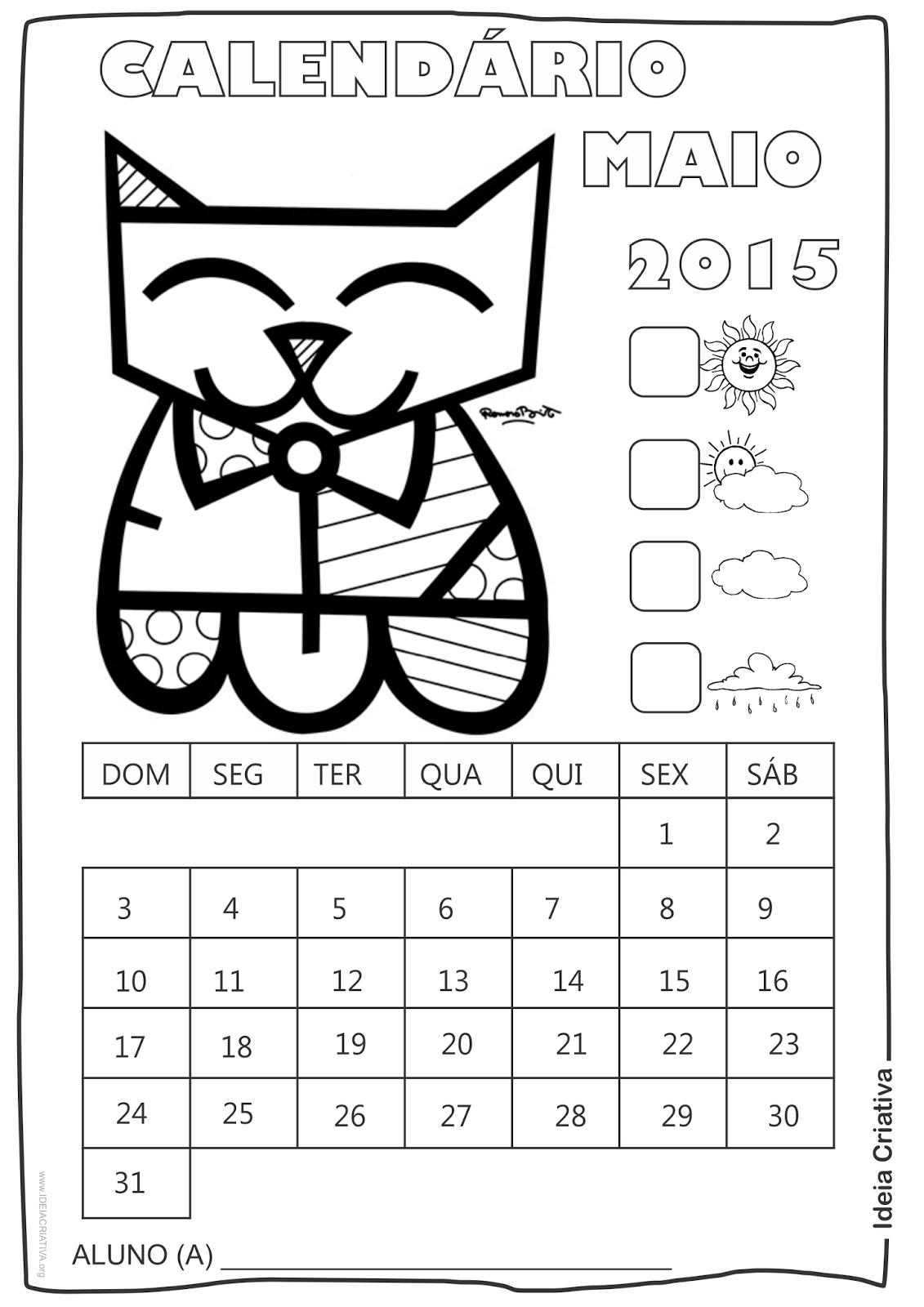 Calendário  Maio 2015 com Desenho Gatinho de Romero Britto para Colorir Sem Numeração
