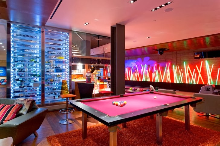 pool table in Multimillion modern dream home in Las Vegas
