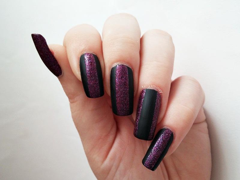 Matte and glitter nails nail art design notd manicure avon stardust radiant rose aura matte top coat
