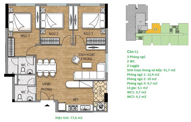 Căn hộ C1 77,6 m2 tầng 8-9 Valencia Garden