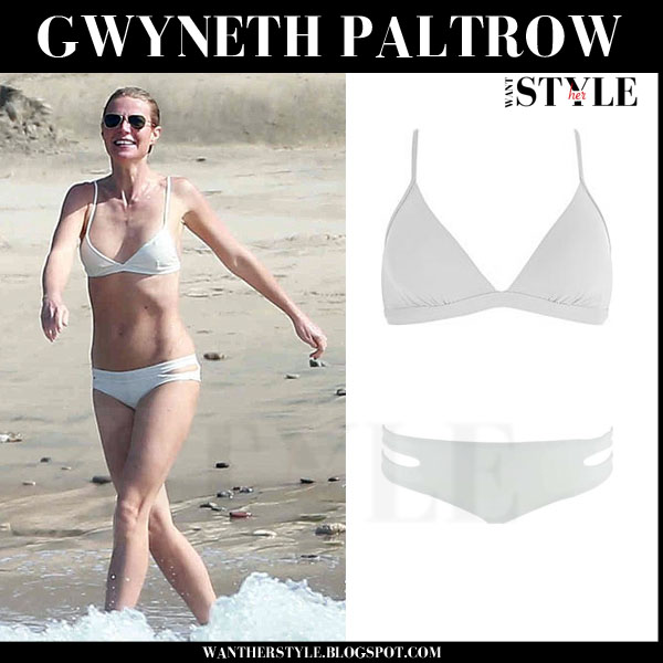 Gwyneth Paltrow in white two piece bikini what she wore beach style