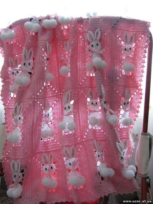 tavsan battaniye Tavşan motifleri ile örülmüş çok şirin bebek battaniyesi