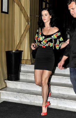 Katy Perry out and about black floral outfit.