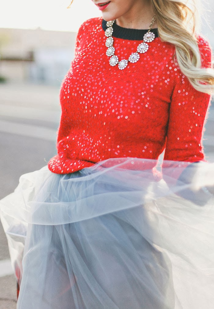 Tulle, Full Skirt, Grey Skirt, Blue Skirt, Alexandra Grecco, JCrew, Sequins, Holiday, Christmas, Red, Red Sweater, Red Lips, Nars, Narssist, Glitter, Bows, Bow Heels, Kate Spade Bow Heels, Kate Spade Glitter Heels, Kate Spade Glitter, Sequin Sweater, Red Sequin Sweater, Princess Outfit, Tulle Skirt, Gretta Tulle Skirt, Anthropologie Tulle Skirt, Charm Heel, Kate Spade Charm, Dragon Girl, Nars Dragon Girl, JCrew Buffalo Check Jacket, JCrew Majesty Peacoat, JCrew Peacoat, Swarovski, A Little Dash of Darling, Dash of Darling, Fashion Blog, Fashion Blogger, Blog, Arizona, Arizona Fashion Blog, Arizona Fashion Blogger, Sequined Sweater, Slingback, Sequin Slingback, Jaci Marie Smith, Jaci Marie Photography, Jaci Smith Photography, Caitlin Lindquist, Utah Fashion Blog, Utah Fashion Blogger, Park City, Utah, Deer Valley