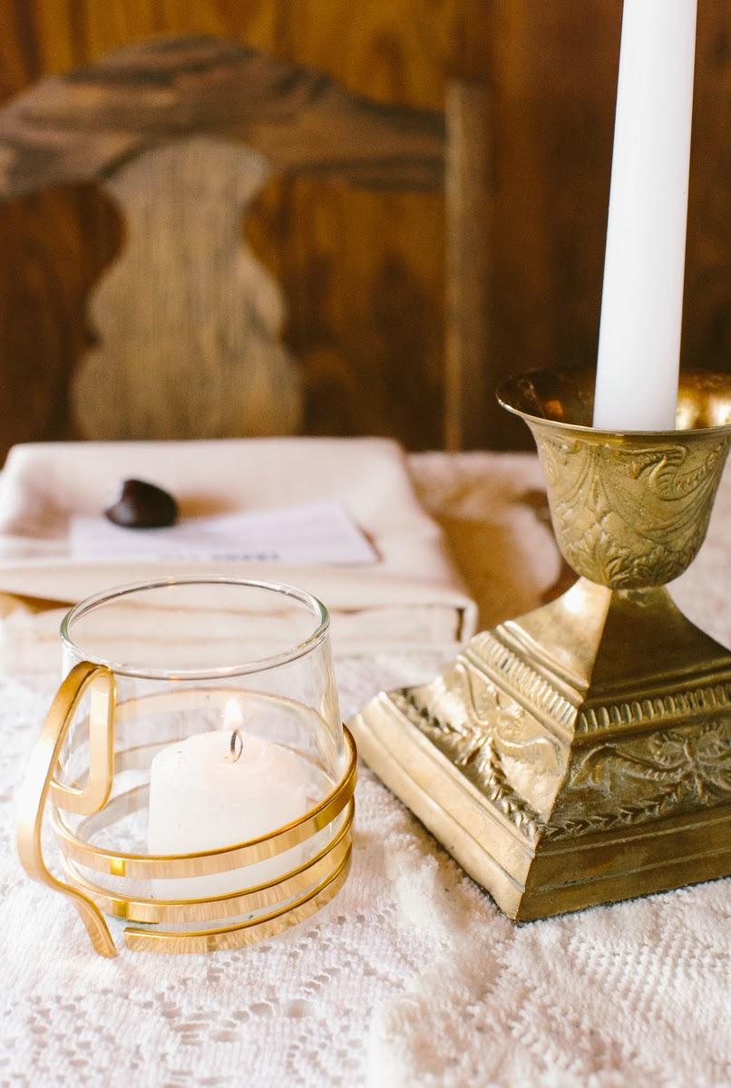 Vintage Brass Candlesticks via Borough Vintage Rentals