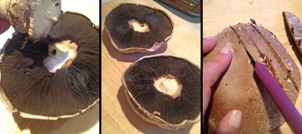 Three images. Stemming the mushroom.Both mushrooms without stems, gill side up and, finally, cutting the portobello caps into 1/2 inch slices in preparation to make Baked Portobello Fries