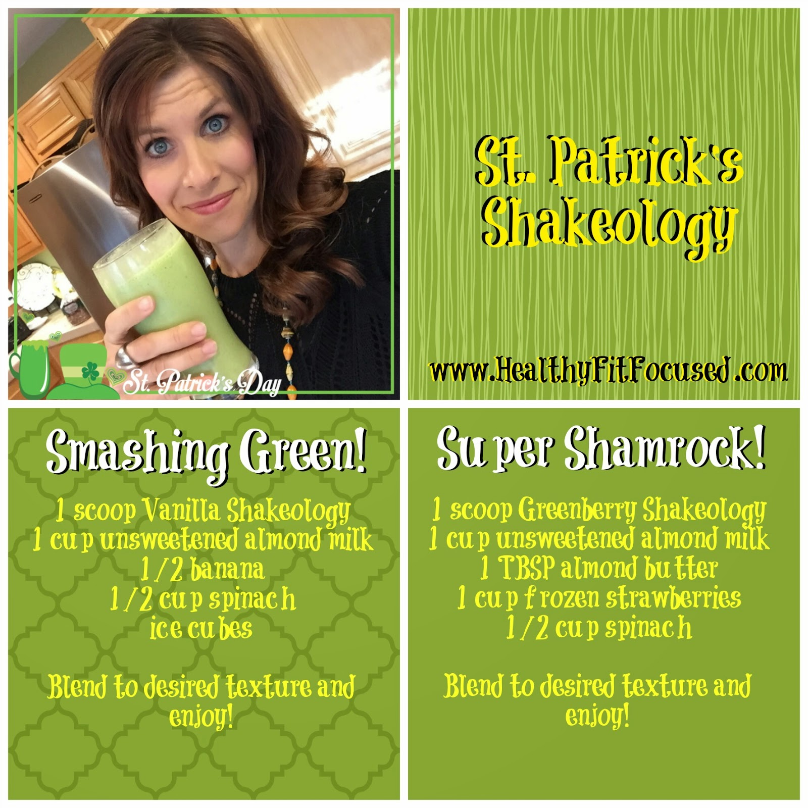 Shakeology Super Happy St. Patrick's Day Shamrock Recipe, Greenberry Shakeology Recipe, www.HealthyFitFocused.com
