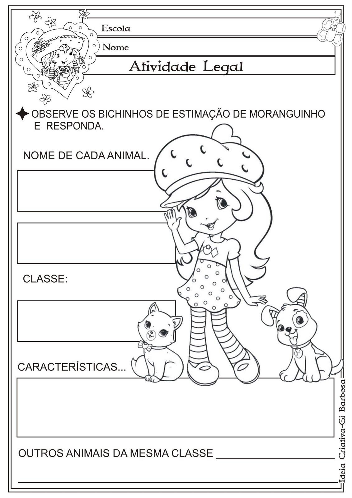 Atividade Animais Mamíferos / Moranguinho Colorir