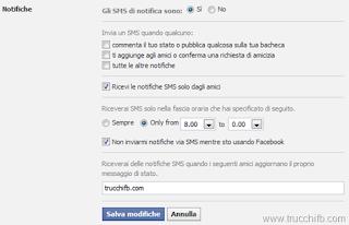 notifiche sms facebook