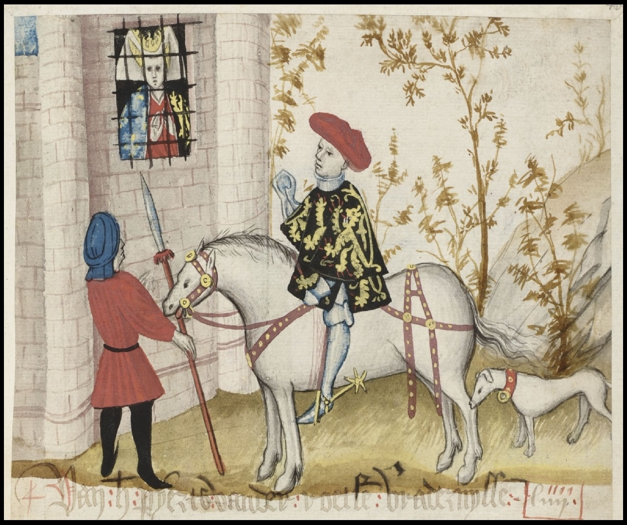noble on horseback visits noblewoman in jail