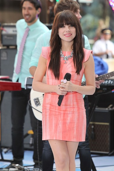 Carly Rae Jepsen in an adorable peach watercolour-inspired Kelly Wearslter 'Relief' sheath dress on 'The Today Show'