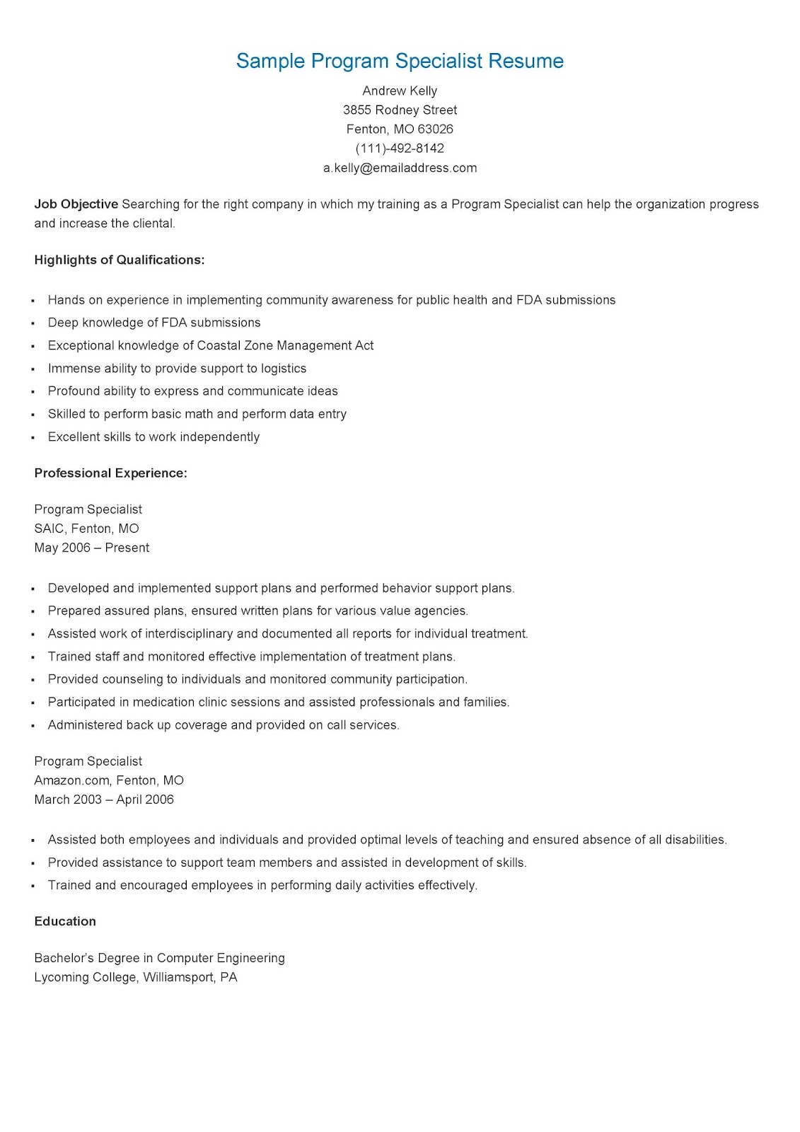 Program Specialist Sample Resume
