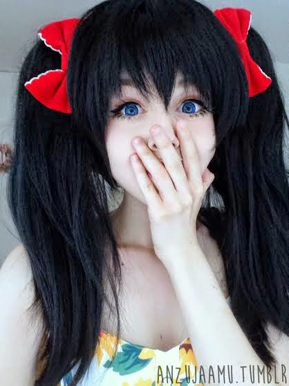 Look Cute at College: Wear Hanabi Blue Circle Lenses & Black Pig Tail Wig