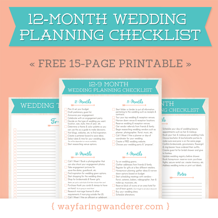 Wayfaring Wanderer 12 Month Wedding Planning Checklist