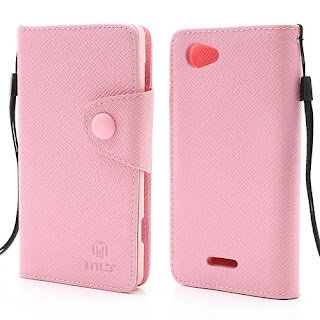 Leather Case Wallet With Credt Card Slot Sony Xperia L S36h C2104 C2105 - Baby Pink