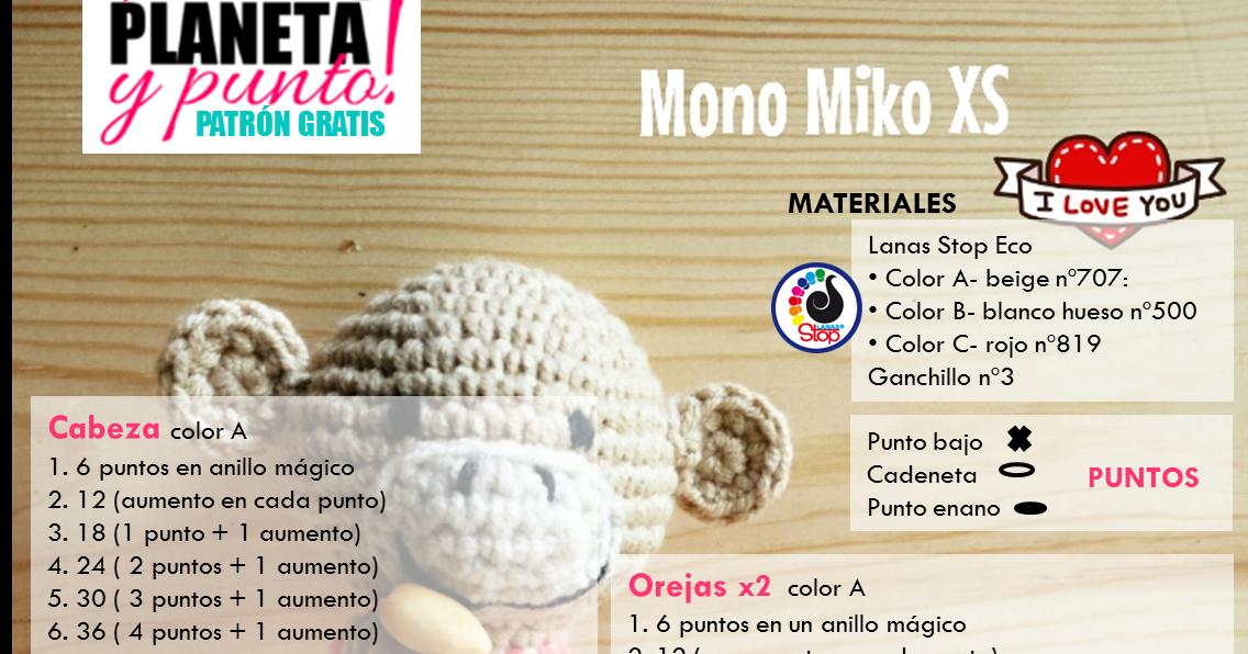 Los Amigus de Paloma: Mono Miko (Patrón Gratis)