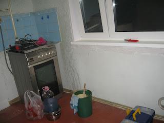 расчистка кухни - плита и окно