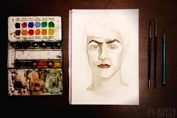 """""""Starman"""", David Bowie water colour portrait by Alicia Sivertsson, 2016. aquarelle, akvarell, water color, colour, porträtt, måla, målning, creativity, kreativitet, skapande, skapa, måla varje vecka, måla en sak i veckan, vattenfärg, artist, musiker, musician, homage"""