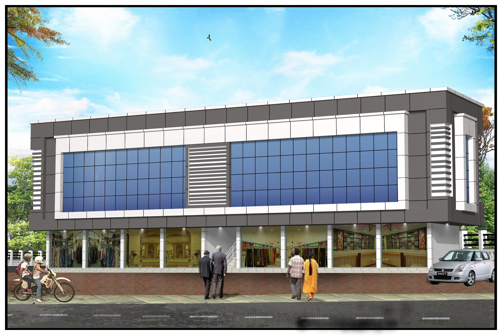 Front Elevation Acp Work : Shopping complex engineering dairy