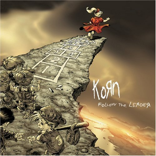 Picture of Korn album cover, Follow The Leader:  Children being led off precipice.