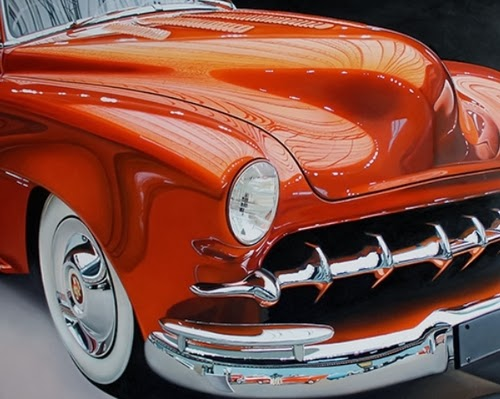 12-Orange-Cadillac-Cheryl-Kelley-Chrome-Muscle-Cars-Hyper-realistic-Paintings-www-designstack-co