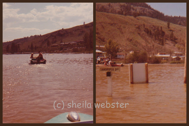 The flood in Oak Hills in 1972 covered the roads and boats were used.