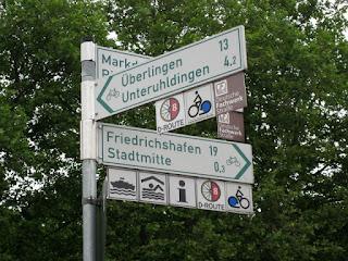 Bike route signs, 19 km to Friedrichshafen, Germany
