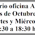 Horario oficina del AMPA en el mes de Octubre