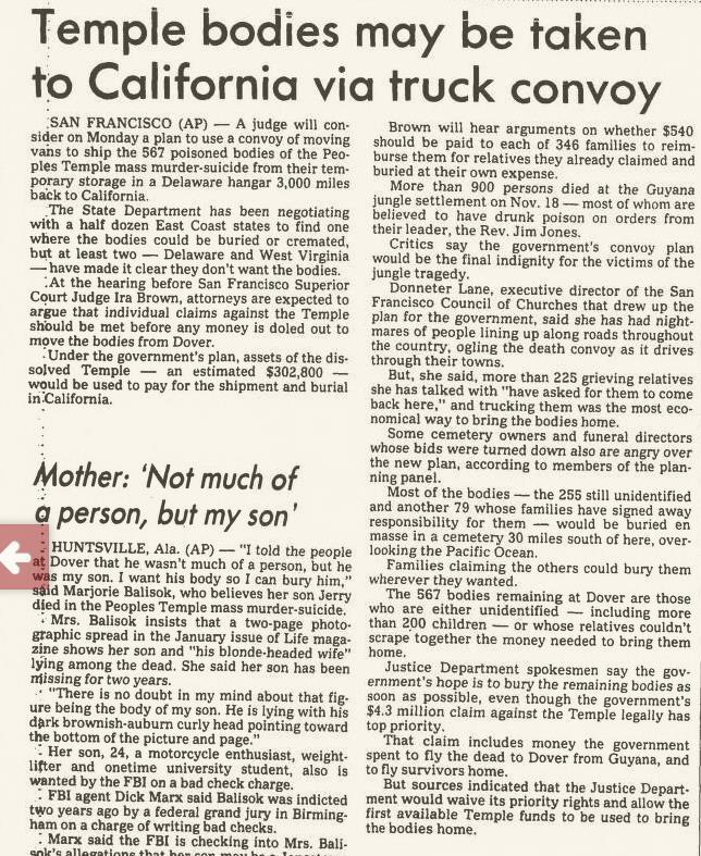 Stevenwarran March 10 1990 Seattle Post Intelligencer Jonestown
